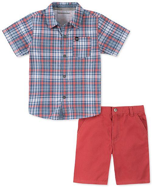 Calvin Klein Little Boys 2-Pc. Yarn-Dyed Plaid Shirt & Twill Shorts Set