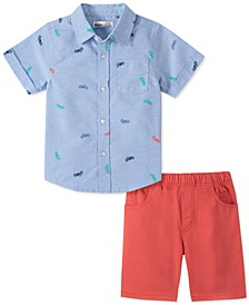 Toddler Boys 2-Pc. Motorcycle-Print Oxford Shirt & Red Twill Shorts Set