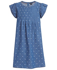 Toddler Girls Cotton Ruffle-Sleeve Denim Dress