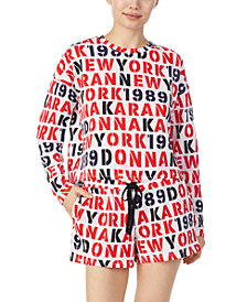 DKNY Printed French Terry Cropped Pajama Top