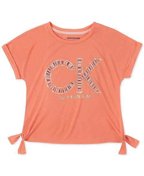 Calvin Klein Big Girls Side-Tie Logo T-Shirt