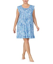 Plus Size Printed Ruffle-Trim Nightgown