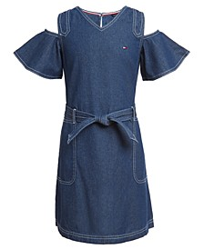 Big Girls Cotton Cold Shoulder Denim Dress