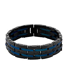 "Men's 1 Carat Black Diamond Link 8 3/4"" Bracelet in Black and Blue IP Stainless Steel"