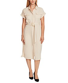 Belted Cuffed-Sleeve Shirtdress