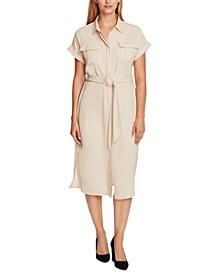 Belted Cuffed-Sleeve Shirtdress