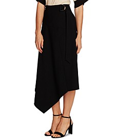 Belted Asymmetrical Midi Skirt