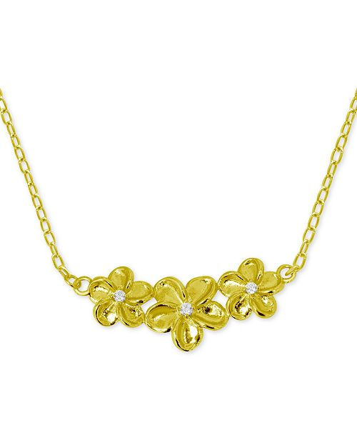 "Kona Bay Flower Trio Pendant Necklace in Gold-Plate, 16"" + 2"" extender"