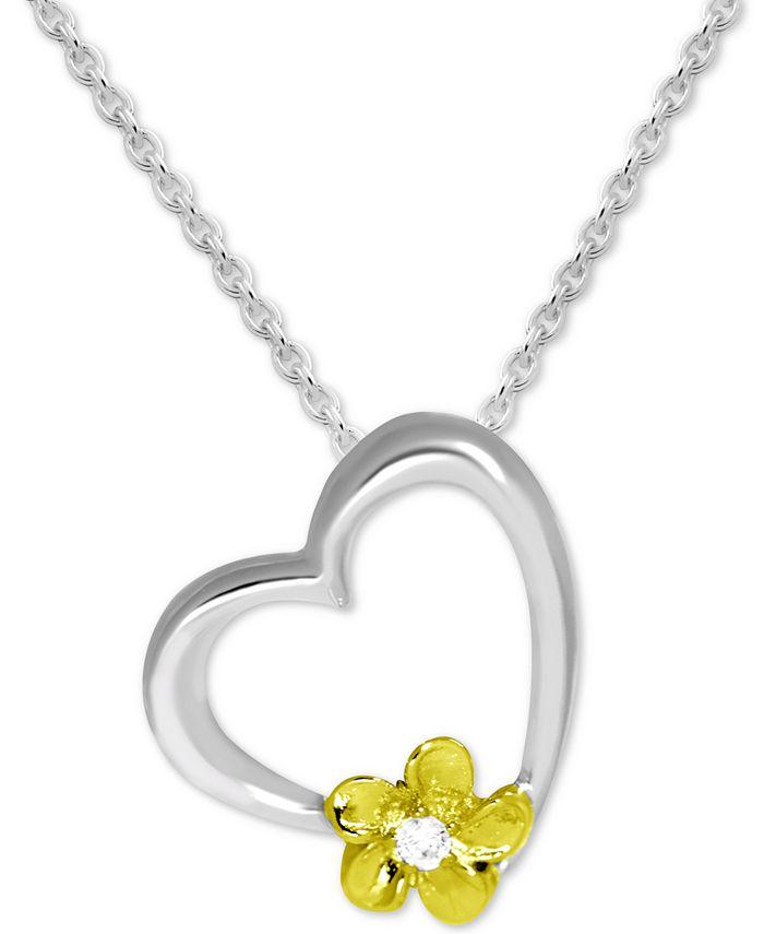 Kona Bay - Flower Accent & Heart Pendant Necklace in Fine Silver-Plate