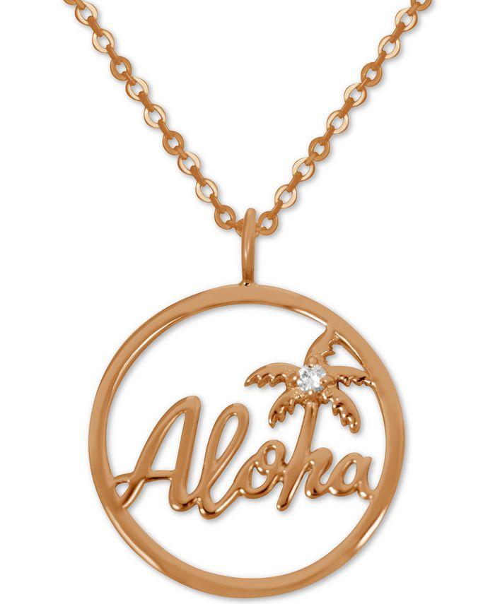 Kona Bay - Aloha Pendant Necklace in Rose Gold-Plate