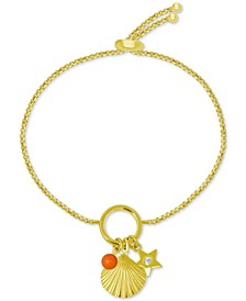 Shell Charm Slider Bracelet in Gold-Plate
