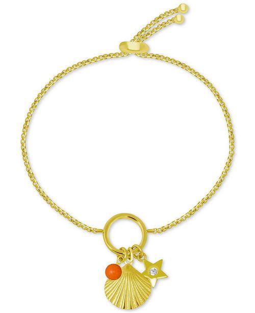 Kona Bay Shell Charm Slider Bracelet in Gold-Plate