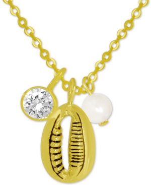 Puka Shell & Freshwater Pearl (6mm) Pendant Necklace in Gold-Plate