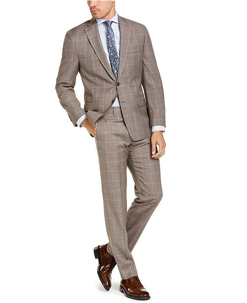 Michael Kors Men's Classic-Fit Airsoft Stretch Brown Windowpane Suit Separates