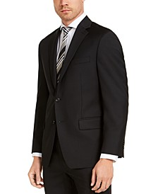 Men's Classic-Fit Airsoft Stretch Black Solid Suit Jacket