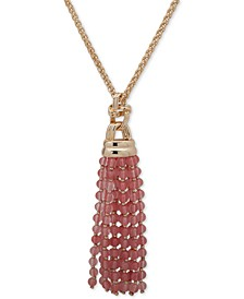 "Gold-Tone Beaded Tassel 36"" Pendant Necklace"