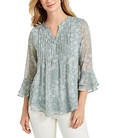Printed Pintuck Ruffled-Sleeve Top, Created for Macy's