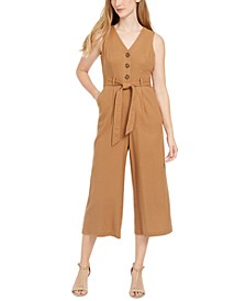 Petite V-Neck Cropped Jumpsuit