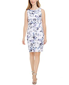 Petite Floral-Print Sleeveless Sheath Dress