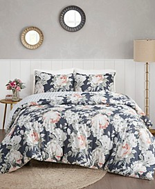 Mavis 3 Piece Full/Queen Cotton Printed Reversible Duvet Cover Set