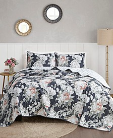 Mavis 3 Piece Full/Queen Cotton Printed Reversible Coverlet Set