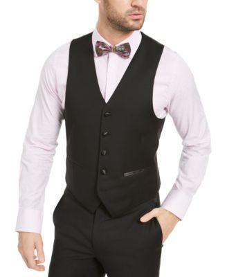 Men's Classic-Fit UltraFlex Stretch Black Solid Tuxedo Vest
