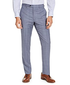 Men's Classic-Fit UltraFlex Stretch Light Blue Plaid Suit Pants