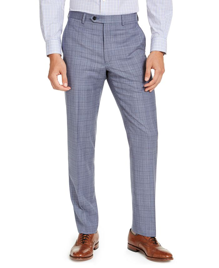 Lauren Ralph Lauren - Men's Classic-Fit UltraFlex Stretch Light Blue Plaid Suit Pants