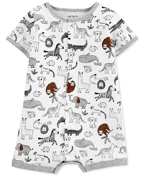 Carter's Baby Boys Animal-Print Cotton Romper