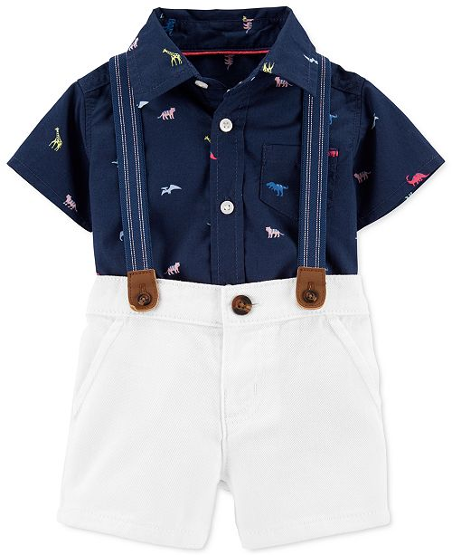 Carter's Baby Boys 3-Pc. Cotton Suspenders, Dinosaur-Print Bodysuit & Shorts Set
