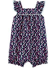 Baby Girls Floral-Print Cotton Bubble Romper