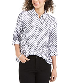 Linen Printed Textured Shirt, Created for Macy's