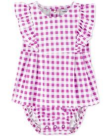 Baby Girls Ruffled Gingham-Print Cotton Sunsuit