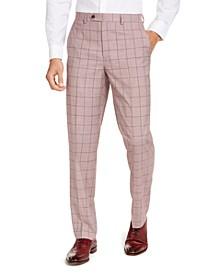 Men's Classic-Fit Light Red Windowpane Suit Pants