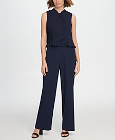 S/L Tie Neck Pleated Combo Jumpsuit