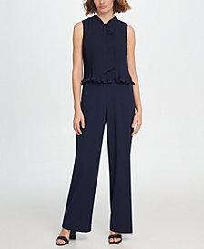 DKNY S/L Tie Neck Pleated Combo Jumpsuit