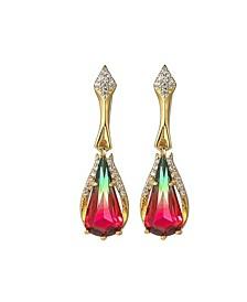 Gold-Tone Watermelon Quartz Accent Drop Earrings