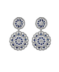 Silver-Tone Sapphire Accent Disc Earrings