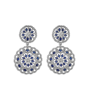 A & M Silver-Tone Sapphire Accent Disc Earrings