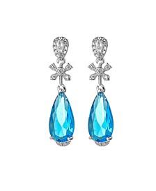 Silver-Tone Blue Topaz Accent Drop Earrings