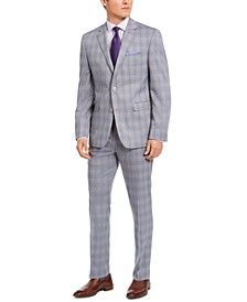 Men's Slim-Fit Stretch Light Gray Plaid Suit