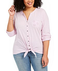 Plus Size Eyelet-Pocket Tie-Front Top, Created for Macy's