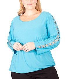 Plus Size Rhinestone-Lattice-Sleeve Top