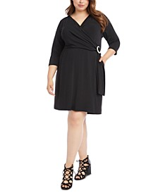 Plus Size Buckle-Detail Faux Wrap Dress
