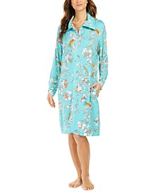 Floral-Print French Terry Short Zipper Robe