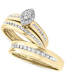 His & Her Channel-Set Diamond Wedding Set Collection in 14k Gold