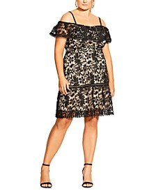 Trendy Plus Size Embroidered-Lace Off-The-Shoulder Dress
