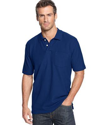 John ashford short sleeve pocket pique polo shirt polos for Short sleeve polo shirt with pocket