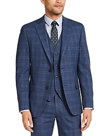 Men's Slim-Fit Stretch Navy Blue Plaid Suit Jacket, Created for Macy's
