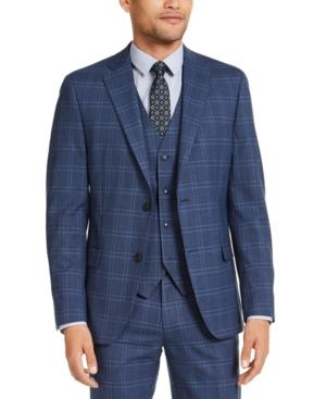Men's Slim-Fit Stretch Navy Blue Plaid Suit Jacket